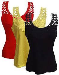 Ladies 3 In 1 Lace Trim Camisoles – Multicolour