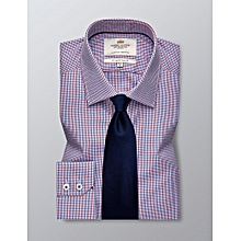 Hawes & Curtis Men's Formal Blue & Red Check Slim Fit Shirt