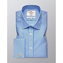 Hawes & Curtis Men's Formal Blue & Red Check Slim Fit Shirt