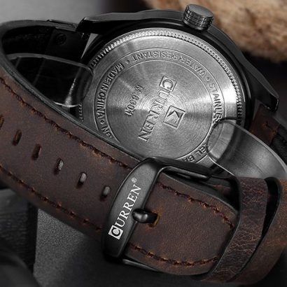 Curren Casual Luxury Leather Wrist Watch-Brown