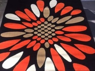 Nobel CENTER RUG BLACK AND ORANGEE)
