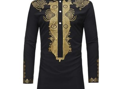Shipped from abroad Dress Shirts Ankara Style Dashiki – Black