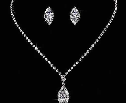 Luxury Zircon Silver Plated Wedding Necklace Earrings