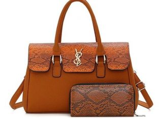 Trendy Croc Design Ladies Handbag With Purse-BROWN