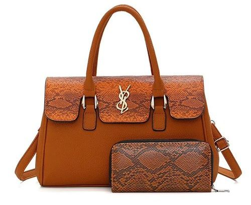 Trendy Croc Design Ladies Handbag With Purse-BROWN