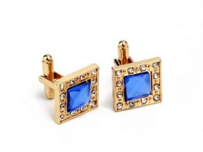 Men's Square Zin Alloy And Diamond Cuff links