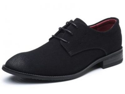 Ht Mens Plus Size Suede Leather Lace-Up Fomral Shoes