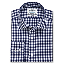 TM Lewin The Flex Slim Fit Blue Semi Plain Cross Button Cuff Shirt