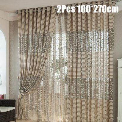 2Pair Floral Tulle Door Window Curtain Designs