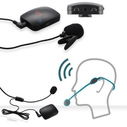 FM Wireless Microphone Transmitter With Headset Mic & Lapel Mic For Teacher Tour Guide XR649