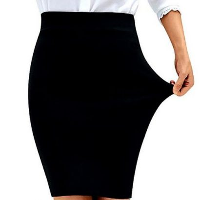 Stretch Pencil Midi Skirt With Back Slit – Black