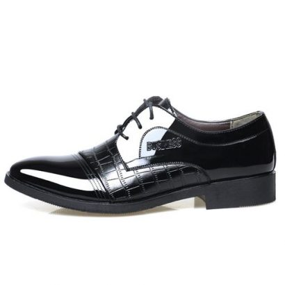 Men's Sleek Leather Lace-up Formal Shoes