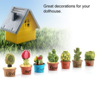 Tiny Cactus Miniature Succulent Plants Pot Dollhouse Decoration Mini Plant (7 Pcs)