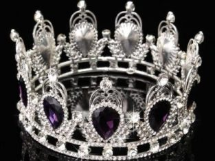 Purple Luxury Crystal Silver King Crown