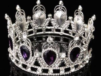 Purple Luxury Crystal Silver King Crown
