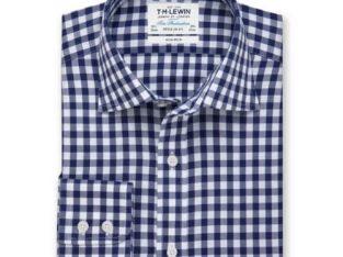 T.M Lewin Non-iron Regular Fit Navy Check Twill Shirt