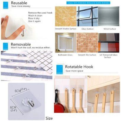 Hanger – 10PCS Strong Self-adhesive Hook, Wall Door Sticky Hanger