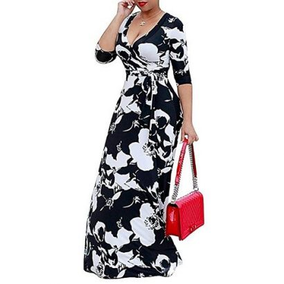 Plus Size Party Maxi Dress Ankara Gown Style-Black