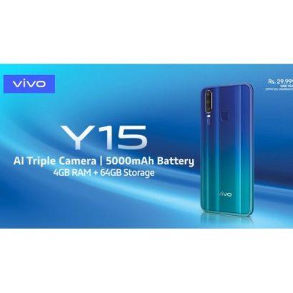 Vivo Y15 2019, 6.35″ HD+ 4GB RAM, 64GB ROM, Front Camera 16MP, Triple Rear Camera 13/8/2 MP,
