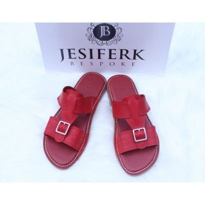 Jesiferk Bespoke Men's Leather Slippers – Red
