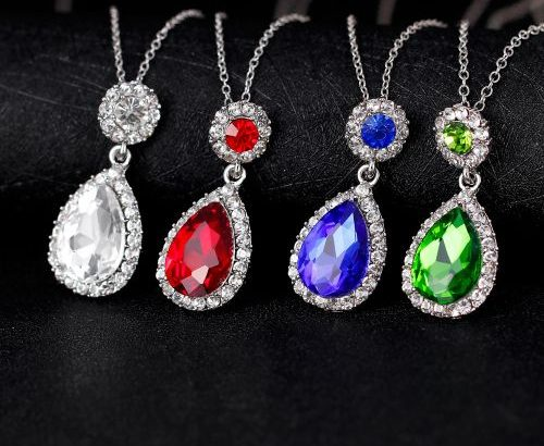 Wedding Jewelry Sets Water Drop Cubic Zirconia CZ Stone Earrings Necklaces Finger Rings Set