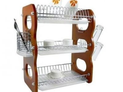 3 Layer Wooden Dish Rack With Drainer – 3 Tiers