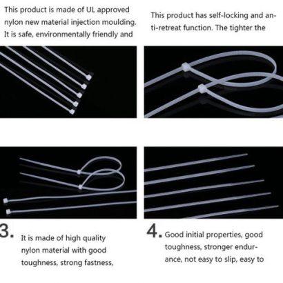 TA Cable Tie Self-locking Nylon Black And White-Random