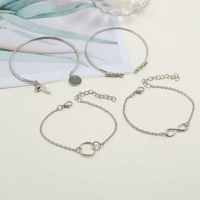 4 Pieces Ladies Bracelet Chain Set – Silver