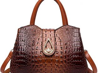 Women Crocodile Genuine Leather Handbags Shoulder Tote Handle Bags