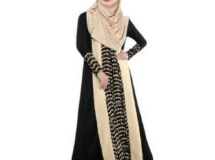 Women's Muslim Arabian Lace Maxi Dress-BLACK