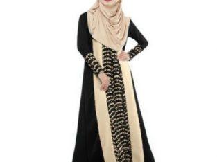 Women's Muslim Arabian Lace Maxi Dress-BLACK
