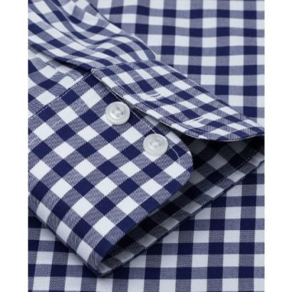 T.M Lewin Non-iron Regular Fit Navy Check Twill Shirt