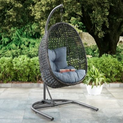 Lantis Patio Wicker Hanging Egg Chair With Cushion