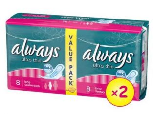 Always Ultra Sanitary Pad W/flexible Wings, Long Duo Pack – 16 Pads (Pack Of 2)