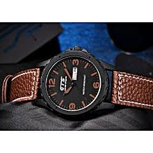 Gts 100% Pure Leather Waterproof Men's Watch + Auto Date & Day