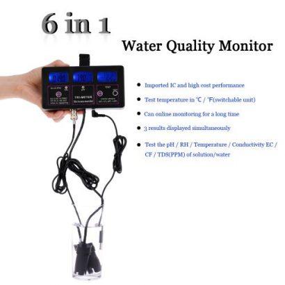 New Professional 6 In 1 Multi-Parameter Water Testing Meter
