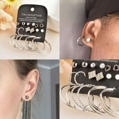 Marte&Joven Mixed Earrings Set – 9 Pairs – Silver