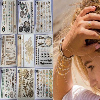 Fashion Gold Silver Metallic Temporary Tattoos Stickers Temporary Body Art Tatoo