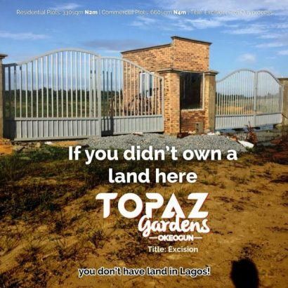 Lands For Sale at Topaz Gardens, Okegun, Ibeju-Lekki (Call or Whatsapp – 08147295184)