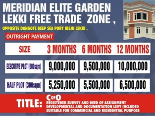 Plots of Land For Sale at Meridian Elite Garden Lekki Free Trade Zone
