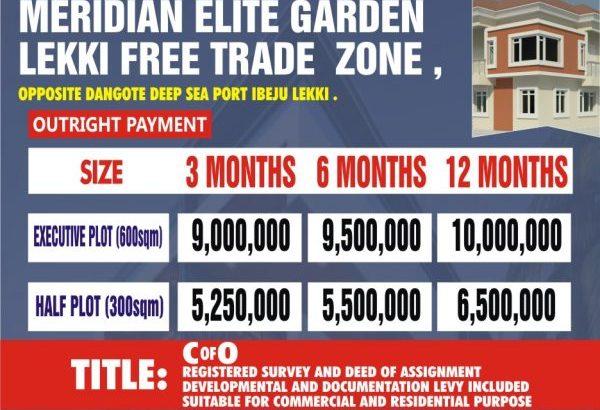 Plots of Land For Sale at Meridian Elite Garden Lekki Free Trade Zone