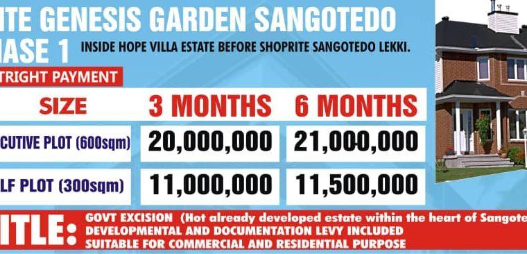We are Selling Plots of Land at Genesis Garden, Sangotedo, Lekki