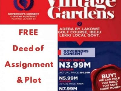Lands For Sale at Premium Vintage Gardens – FREE Deed of Assignment and Plot Demarcation
