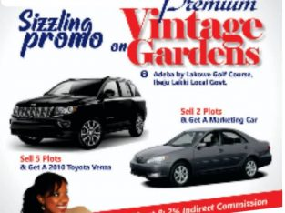Win A 2010 Toyota Venza Vehicle This Easter by Selling Lands at Premium Vintage Gardens
