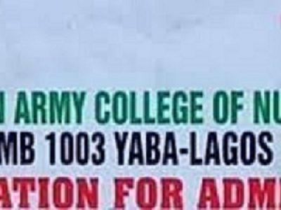 School of Nursing,Military Hospital,Yaba 2021/22 Session Admission Forms on sale